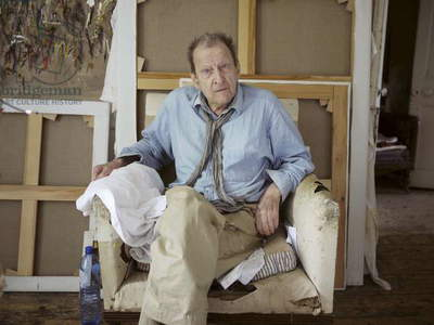 Lucian Freud in his studio whilst painting Perienne Christian, 2011 (photo)