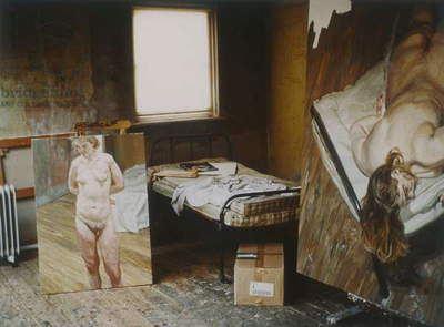 Interior of Lucian Freud's studio with 'Naked Portrait Standing' (1999-2000) and 'Night Portrait - Face Down' (1999-2000) (photo)