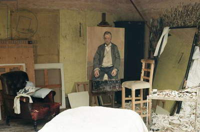 Interior of Lucian Freud's studio with 'Bruce Bernard (Seated)', 1996 (photo)