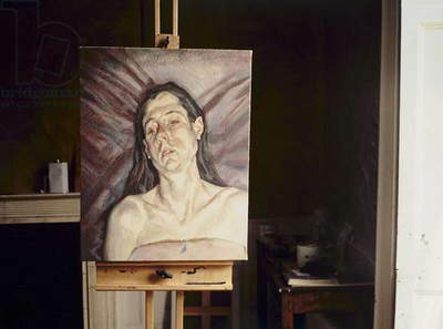 Studio interior with 'Portrait Head' by Lucian Freud, 2002 (photo)