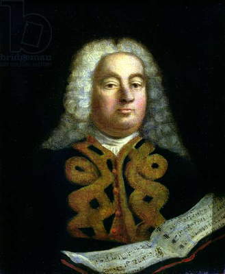 Portrait of George Frederick Handel (1685-1759) with a copy of the Messiah, c.1749 (oil on canvas)