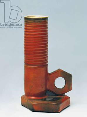 Vase in shape of bolt, majolicated terracotta, Giuseppe Mazzotti manufacture, Albissola, Italy, 20th century
