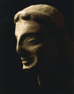 Archaic head unearthed in Crotone, Calabria, Italy, 6th Century BC