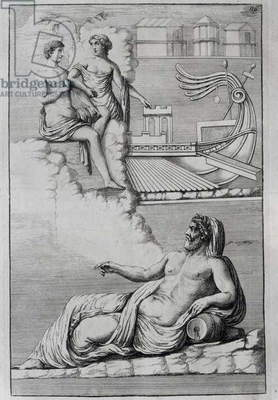 Helen and Paris with river Eurotas, symbol of Sparta, city of Helen, 1767, engraving from Unpublished monuments of antiquity by Johann Joachim Winckelmann (1717-1768), from relief in Palazzo Spada