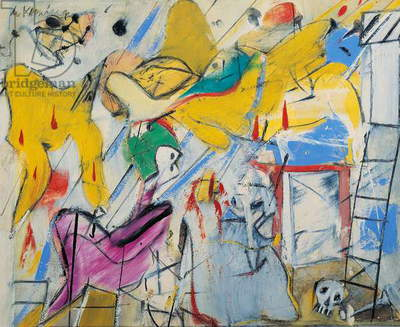 Abstraction, 1949-1950, by Willem de Kooning (1904-1997), oil and oleoresin on cardboard, 41x49 cm. United States of America, 20th century.