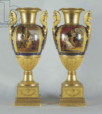 Pair of vases, gilded porcelain, Nast manufacture, Paris, France, 19th century