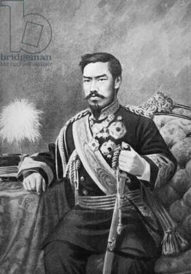 Portrait of Emperor Meiji, honorary name of Mutsuhito (1852-1912), emperor of Japan from 1867 to 1912, engraving