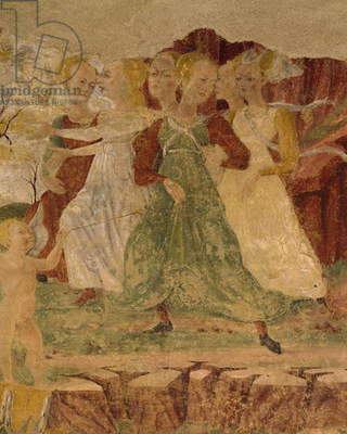 Desperation of maids of Proserpine, detail from Triumph of Ceres, scene from Month of August, attributed to Cosimo Tura and Master of Ercole, fresco, north wall, Hall of Months, Palazzo Schifanoia (Palace of Joy), Ferrara, Italy, circa 1470