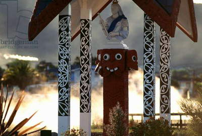 Maori temple in Ohinemutu village, Waitangi, Bay of Islands, New Zealand