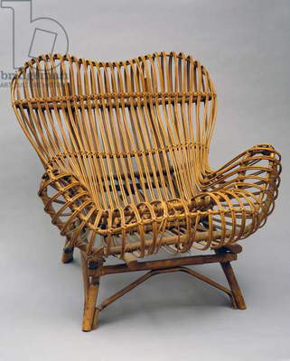 Gala, 1951, by Franco Albini (1905-1977), Indian rattan and cane armchair, made by Vittorio Bonacina and Co. Italy, 20th century.