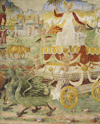 Ceres' chariot pulled by dragons, detail from Triumph of Ceres, scene from Month of August, attributed to Cosimo Tura (circa 1430-1495) and Master of Ercole, fresco, north wall, Hall of Months, Palazzo Schifanoia (Palace of Joy), Ferrara, Italy, circa 1470