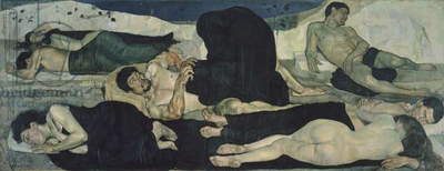 Night, 1889-1890, by Ferdinand Hodler (1853-1918), oil on canvas, 116x299 cm