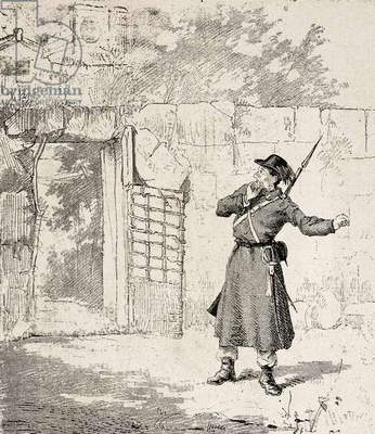 Policeman in Risano, Montenegro, insurgency against Austro-Hungarian Empire in Adriatic provinces, engraving from L'IIllustrazione Italiana, no 9, February 26, 1882