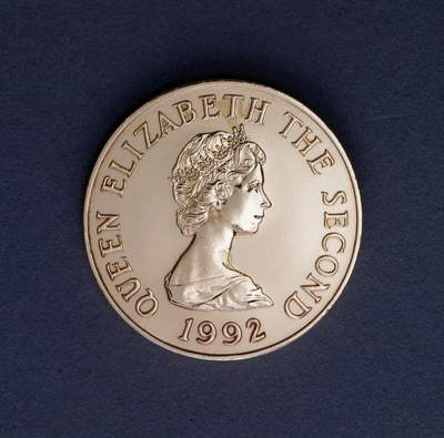 2 pence coin, 1992, obverse, queen Elizabeth II (1926-), Jersey, 20th century
