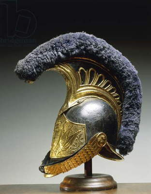 Leather and gilded metal helmet worn by Piedmont dragoons, 1814