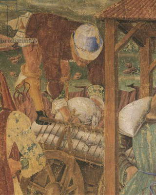 Merchant at work, detail from Triumph of Ceres, scene from Month of August, attributed to Cosimo Tura, (circa 1430-1495) and Master of Ercole, fresco, north wall, Hall of Months, Palazzo Schifanoia (Palace of Joy), Ferrara, Italy, circa 1470