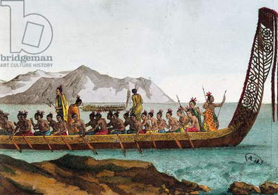War canoe from New Zealand, 1811, engraving, 19th century