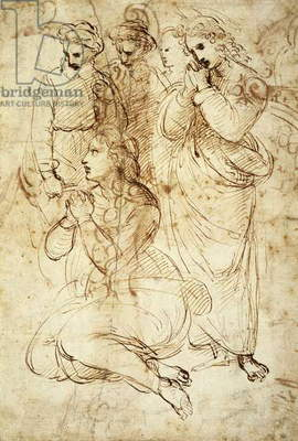 Deposition, preparatory study by Raphael Sanzio (1483-1520), drawing