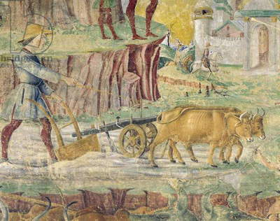 Plowing the fields, detail from Triumph of Ceres, scene from Month of August, attributed to Cosimo Tura, (circa 1430-1495) and Master of Ercole, fresco, north wall, Hall of Months, Palazzo Schifanoia (Palace of Joy), Ferrara, circa 1470