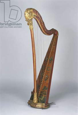 Close-up of a harp, France
