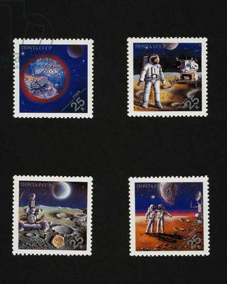 Series of postage stamps commemorating Space conquests, 1989, depicting, top from left, Mars, American astronaut on moon, bottom from left, Soviet spacecraft on moon, Soviet cosmonaut and American astronaut on Mars, Soviet Union, 20th century
