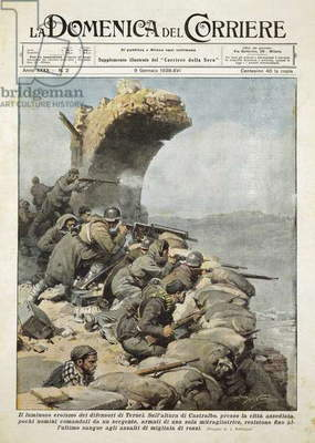 The Battle of Teruel during Spanish Civil War, Achille Beltrame (1871-1945) from La Domenica del Corriere, January 9, 1938