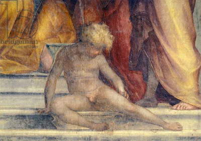 Italy, Florence, Cloister of votes, Basilica of Most Holy Annunciation, Visitation, 1514-1516, by Pontormo (1494-1557), fresco, 392x337 cm, Detail