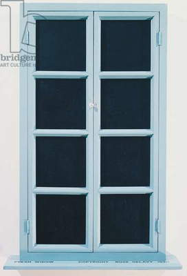 Fresh window, 1964 replica, by Marcel Duchamp (1887-1968), miniature French casement window, painted wood frame and panes covered with black leather panels, 77x45 cm. France, 20th century.