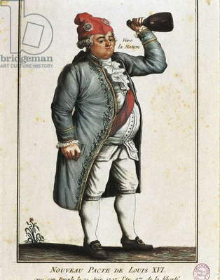 France, Paris, French Revolution, Long Live the Nation! Caricature of King Louis XVI (1754-1793), color etching, 1792