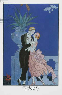 Oui, Two young fiances in evening dress, lithograph by George Barbier (1882-1932), from Falbalas et Fanfreluches, Almanach des Modes Presentes, Passees et Futures, 1922, France, 20th century