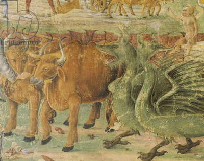 Dragons and images of rural life, detail from Triumph of Ceres, scene from Month of August, attributed to Cosimo Tura (circa 1430-1495) and Master of Ercole, fresco, north wall, Hall of Months, Palazzo Schifanoia (Palace of Joy), Ferrara, Italy, circa 1470