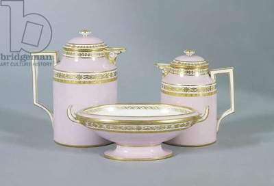 Gilded and pink coffee service, ceramic, Viennese manufacture, Austria, 19th century