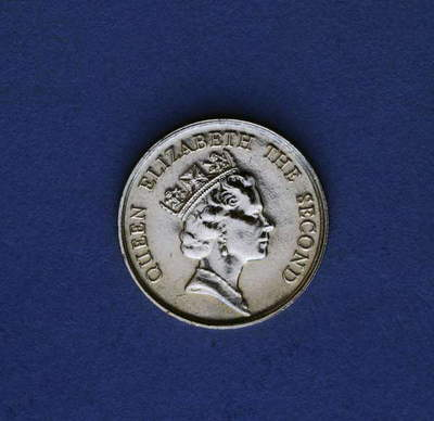 10 cents coin, 1987, obverse, portrait of queen Elizabeth II (1926-), Hong Kong, 20th century