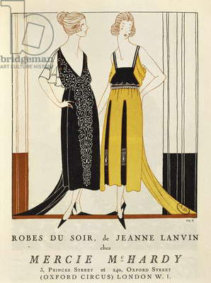 Women's fashion plate depicting evening dresses, from
