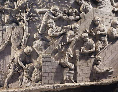 Cast of Trajan's Column, Detail of soldiers building fortifications in Dacia