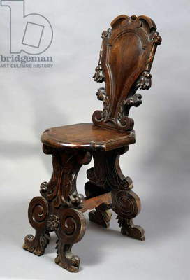 Neo-Mannerist style walnut chair, Italy, late 19th century