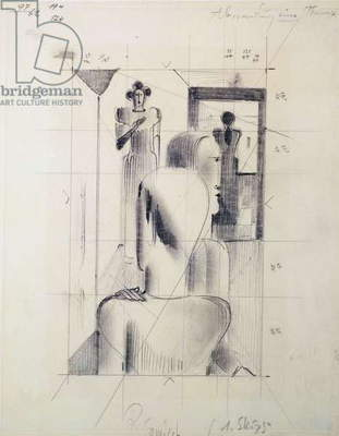 Figures in a room, by Oskar Schlemmer (1888-1943), pencil on paper. Germany, 20th century.