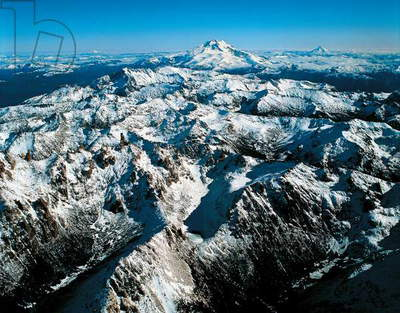 Argentina, Rio Negro Province, Aerial view of Andes with Mount Catedral (2388m), Tronador (3554 m) and Puntiagundo (2493 m) (photo)