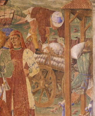Merchants, detail from Triumph of Ceres, scene from Month of August, attributed to Cosimo Tura, (ca 1430-1495) and Master of Ercole, fresco, Hall of Months, Palazzo Schifanoia (Palace of Joy), Ferrara, Emilia -Romagna, Italy, ca 1470