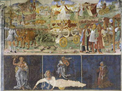 Triumph of Ceres and Sign of Virgin with three deans, scene from Month of August, attributed to Cosimo Tura (circa 1430-1495) and Master of Ercole, fresco, north wall, Hall of Months, Palazzo Schifanoia (Palace of Joy), Ferrara, Italy, circa 1470
