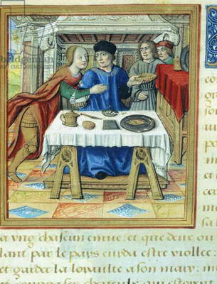 Lysicrates and King Mithridates at table, miniature from The Lives of Famous Women by Antoine Dufour, ca 1505, manuscript folio 2 recto, France 16th Century.