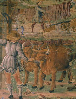 Pictures of country life, detail from Triumph of Ceres, scene from Month of August, attributed to Cosimo Tura (circa 1430-1495) and Master of Ercole, fresco, north wall, Hall of Months, Palazzo Schifanoia (Palace of Joy), Ferrara, Italy, circa 1470