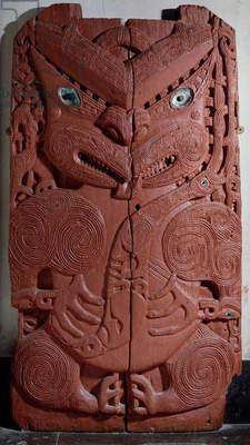 Maori decorative panel with imaginary anthropomorphic figure, New Zealand civilization