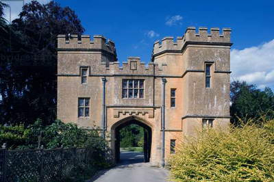 The entrance to Sudeley castle (built 15th-16th century), Gloucestershire, United Kingdom