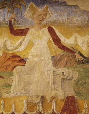 Ceres with ears of corn in her hands, detail from Triumph of Ceres, scene from Month of August, ca 1470, attributed to Cosimo Tura, and Master of Ercole, fresco, north wall, Hall of Months, Palazzo Schifanoia, Ferrara, Emilia-Romagna, Italy