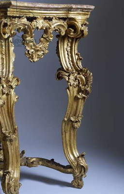 Lombard console table in gilded and painted wood, Italy, 18th century