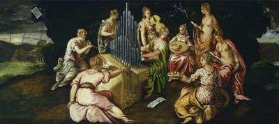 Contest between Muses and Pierides, by Jacopo Robusti known as Tintoretto (1519-1594), oil on panel, 46x91 cm
