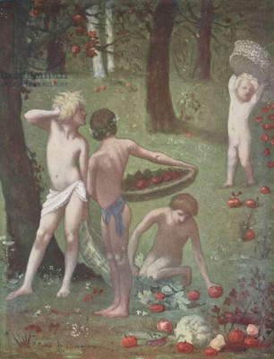 Autumn, group of children gathering fruit, 1871, by Pierre Puvis de Chavannes, illustration from Figaro illustre, Year XVII, No 107, February, 1899