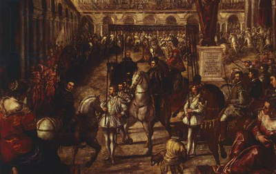 Philip II received by Francesco Gonzaga in Mantua, by Jacopo Robusti known as Tintoretto (1518-1594)
