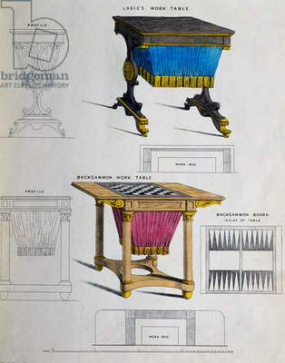 Work table with ladies bag underneath and work table with backgammon board and bag underneath, Illustration by George Smith from Cabinet Maker and Upholsterer's Guide, 1826, 19th century, United Kingdom